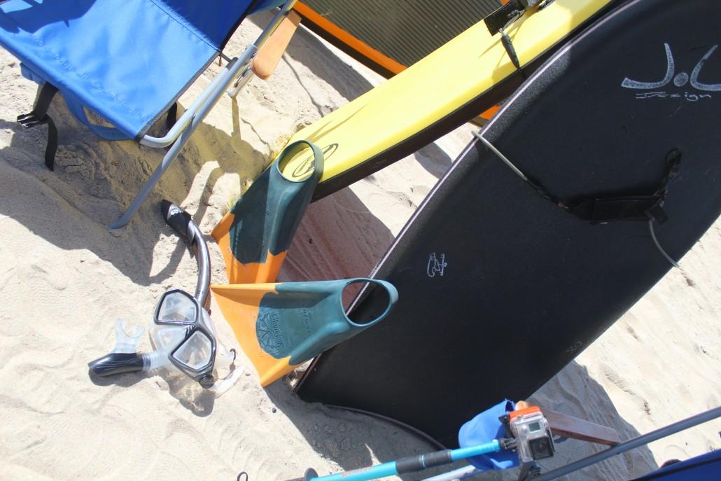 snorkel body board beach chair gopro