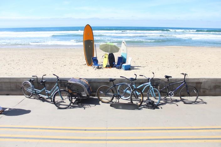 SUP surfboards beach gear bikes