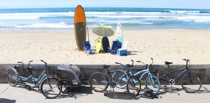SUP surfboards beach gear bikes